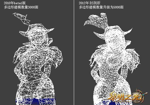 【《黎明之光》3D建模画面升级前后对比图】