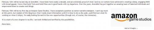 《激战2》编剧宣布离职 将赴亚马逊开启人生新篇章