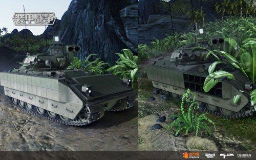 对比战斗前后,装甲战车侧面的反应装甲被明显消耗
